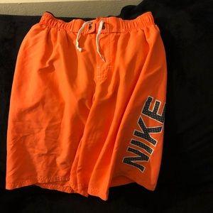Nike Neon Orange Swim Trunks